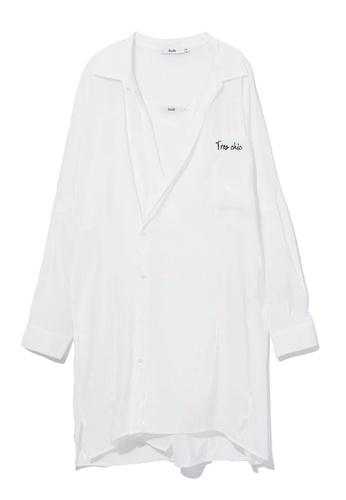 b+ab white Asymmetrical oversized shirt BEF67AA99F3C5BGS_1