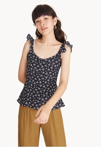 Pomelo navy Floral Frill Shoulder Tank C4076AA4D482BBGS_1