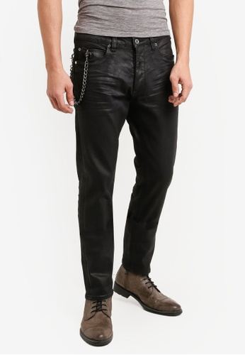 CR7 black Type C Slim Straight Wax Rip Slim Jeans CR532AA92EFBMY_1