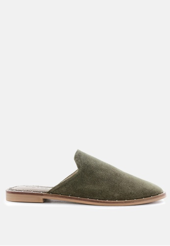 RAG & CO green Khaki Green Suede Leather Mules D9F4DSHC5CD890GS_1