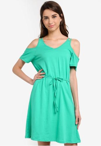LC Waikiki 綠色 Short-袖 V領洋裝 With 後Detail EFA1AAA73D580EGS_1