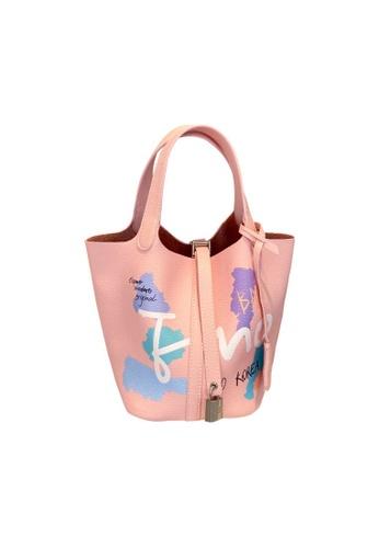 EMO pink Korean fashion Brand‧Graffiti Pattern Handbag-Pink 85226ACE2A5261GS_1