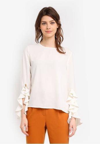 Zalia white Frill Sleeve Top 55EC9AAE938B68GS_1