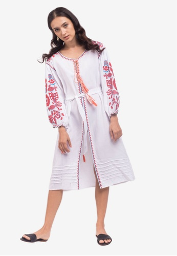 Caoros white Embroidered Caftan Cape Dress EF57DAA97867BBGS_1