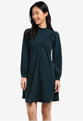 CLOSET green Long Sleeve A-Line Dress CL919AA0S6H0MY_1