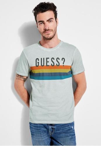 Guess grey Guess Rainbow Striped Logo T-shirt 5A0B5AA506F95DGS_1