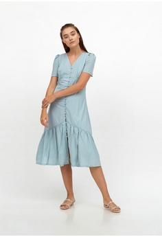 50d8f9cd2c295 QLOTHE blue Claudette Ruffle Hem V-neck Dress 004A6AAB009B99GS 1