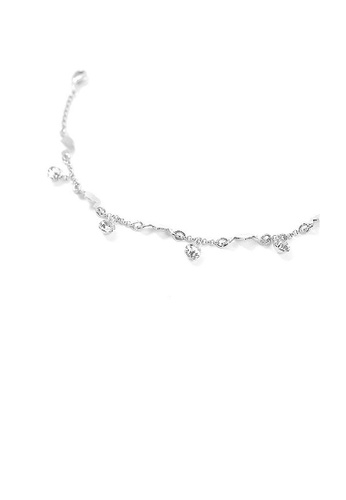 Glamorousky silver Elegant Heart Anklet with Silver Austrian Element Crystals 79C10AC5C304ACGS_1