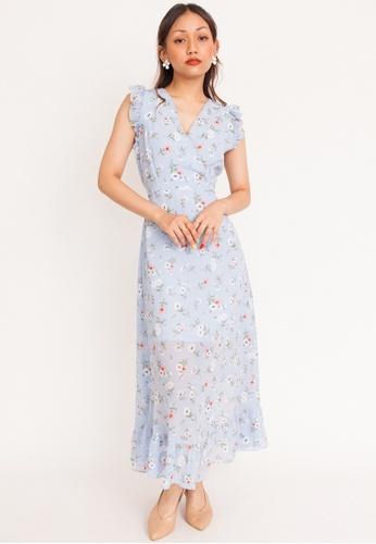 Hook Clothing blue and multi Daisy Ruffle Sleeve Maxi Dress CC86CAA60D69AEGS_1