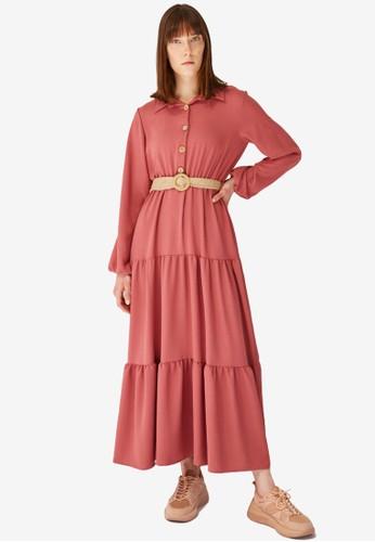 Trendyol pink Rose Tiered Maxi Shirt Dress C86E7AA6BD1AB3GS_1