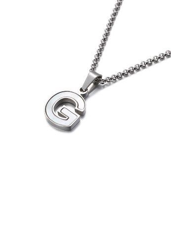 Glamorousky white Fashion and Elegant English Alphabet G Shell 316L Stainless Steel Pendant with Necklace A7BA6ACD59390CGS_1