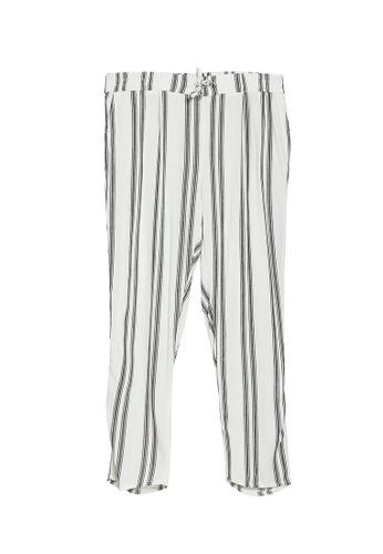 LC Waikiki white Elastic-Waist Striped Linen Carrot Trousers 7CF2DAA9DF2C53GS_1