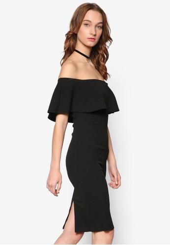 荷葉飾露肩領貼身連身裙, 服飾, esprit暢貨中心洋裝