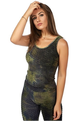 London Rag green Military Green Tie Dye Fitness Workout Vest AF285AAC1BBF68GS_1