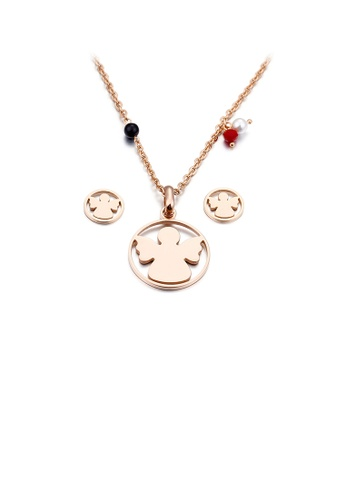 Glamorousky white Fashion and Elegant Plated Rose Gold Angel Geometric Round 316L Stainless Steel Necklace and Stud Earring Set DA1C6ACF125C33GS_1