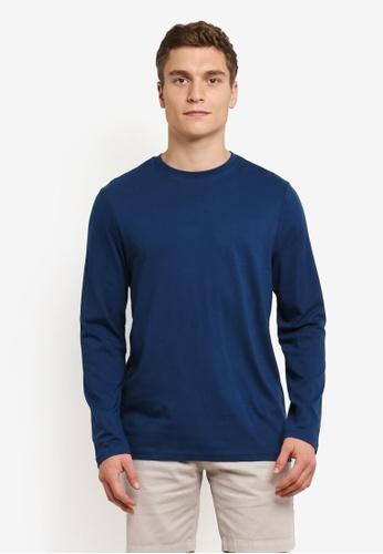 Burton Menswear London blue Petrol Blue Long Sleeve T-Shirt BU964AA0RWMCMY_1