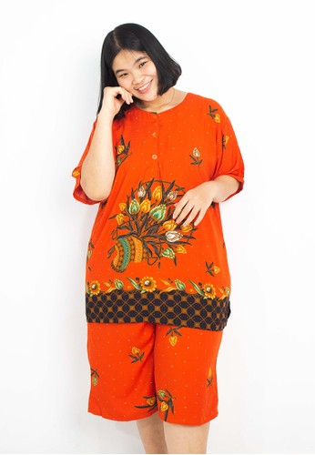 SEWU KUTO orange SEWU KUTO BATIK PIYAMA PENDEK PREMIUM EXTRA JUMBO MOTIF 655 ORANGE 64FA5AAE539A49GS_1
