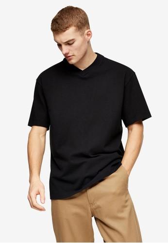 Topman black V Neck T-Shirt 6CE26AAD3C0138GS_1
