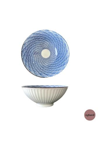 &glazed white and blue &Glazed Ren 7.8-inch medium round bowl Wave 75271HLBAE75F8GS_1