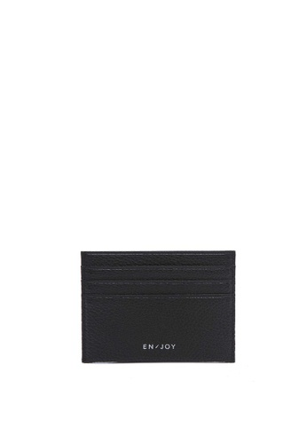 Enjoybag black Popp`s Cowhide Leather Pop Edge Card Holder EN763AC87HQUHK_1