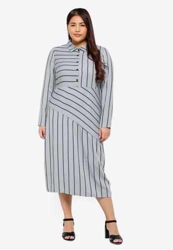4317b3998fc LOST INK PLUS grey and blue Plus Size Shirt Dress In Mint Stripe  E49F0AA06C8B74GS 1