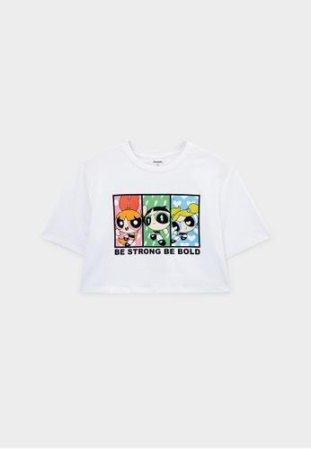 Pomelo white The Powerpuff Girls Short Sleeve Graphic Crop Top - White DB658AA8FFA0F0GS_1