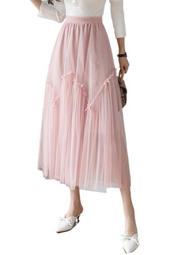 Halo pink Layered Net Yarn Midi Skirt DBFB7AA737B170GS_1