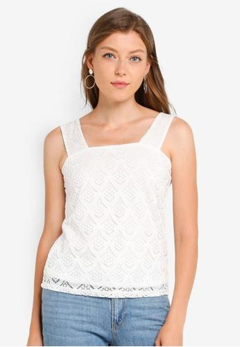 aa5486ec6ca2 Buy Dorothy Perkins Petite Ivory Lace Square Neck Top | ZALORA HK