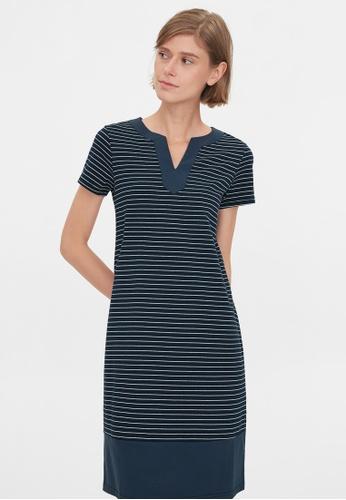Pomelo blue Striped V Neck Loose Dress - Navy E4F2CAA8413683GS_1