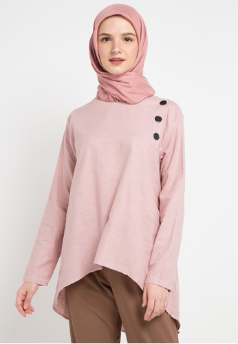 ZAHRA SIGNATURE pink L/S Linen Blouse Buttons A828EAA5CAE00FGS_1