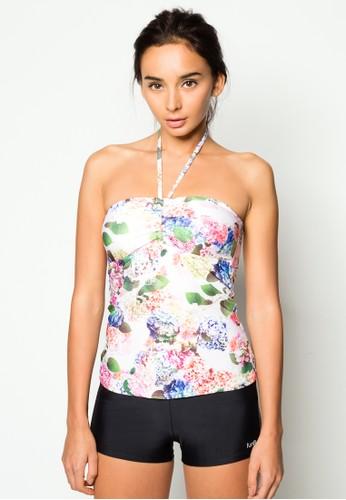 花卉繞zalora 內衣脖兩件式泳裝, 服飾, 服飾