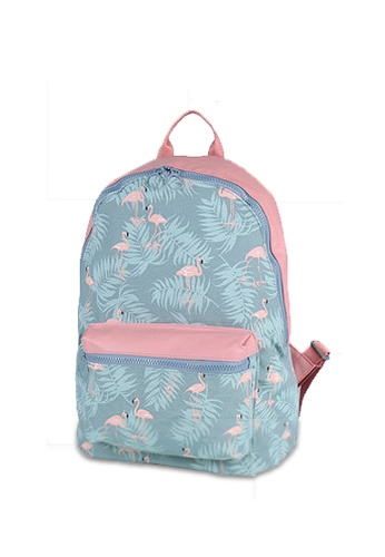 LULUGIFT Lulugift Floral Casual WaterProof Backpack Gray Egrets LU989AC0RD6BMY_1