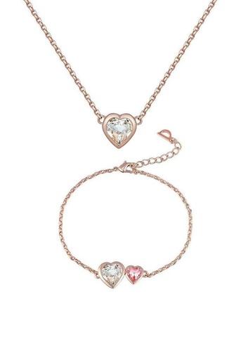 ADORA pink Swarovski Heart Pendant Set 81334AC4FC537FGS_1