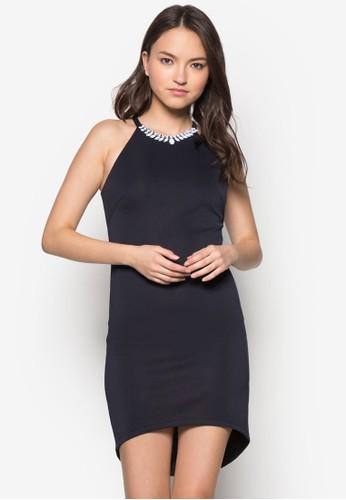閃飾削肩領貼身連身裙, 服飾, 派zalora 評價對洋裝