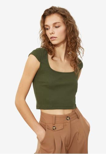Trendyol green Square Neck Ribbed Crop Top 8484CAA9D247A3GS_1