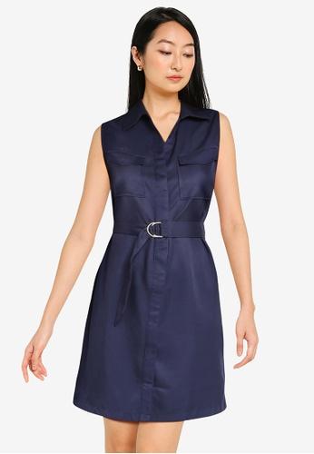 ZALORA BASICS navy Sleeveless Utility Dress 61E58AA45CD293GS_1