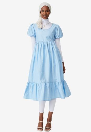 Cotton On blue Woven Lange Babydoll Midi Dress 7E37AAAD11375EGS_1