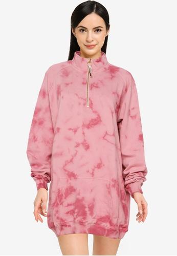 Public Desire pink Tie Dye Oversized Sweatshirt Dress B4E2EAABB68145GS_1