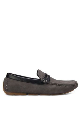 UniqTee grey Moc-Toe Penny Loafers UN097SH33RFAMY_1