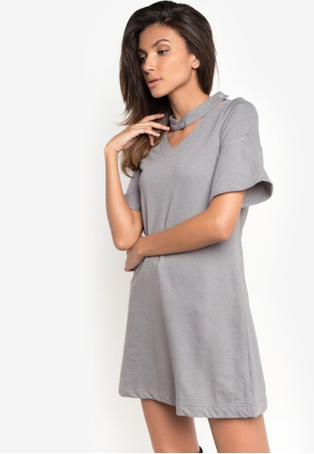 NEXT grey Longsleeves v-neck top with neck collar 32C8CAAE1A49ACGS_1