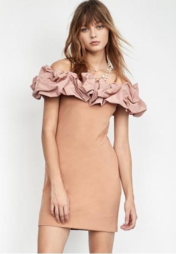 iROO brown Fitted Ruffle Dress BB7DEAAE25A3CEGS_1