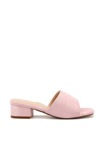 KissXXX 粉紅色 清新氣質馬卡龍色系絨面小方頭一字款中跟時尚拖鞋 KI603SH09LF2TW_1