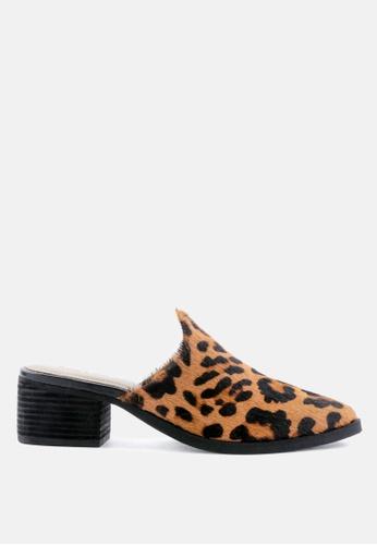 RAG & CO multi Hair-on Leather Leopard Print Heeled Mules 7F4EDSHCEA559DGS_1