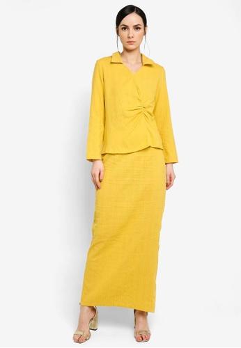 Zalia yellow Collar Kurung with Side Gathered D0C57AA5CE9B77GS_1