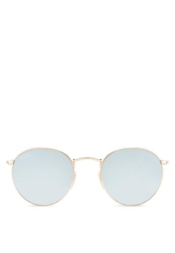 Ray-Ban gold Round Flat Lenses RB3447N Sunglasses RA896GL00CYHMY_1