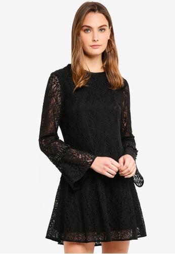 Sisley black Contrast Ruffled Dress 357BFAAF47F77EGS_1