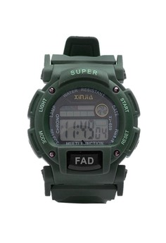 XINJIA FAD Water Resistant Sports Digital Army Green Plastic Strap Watch 659