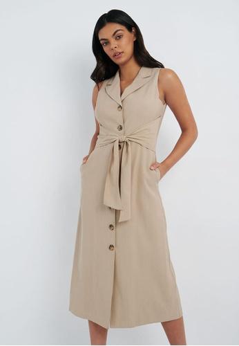 FORCAST brown FORCAST Miah Maxi Shirt Dress 3D20DAA8C3FED4GS_1