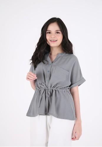 Sorabel grey Hixai Plain Drawstring Blouse Grey FCC64AA733F4A0GS_1
