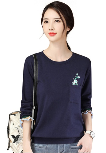 A-IN GIRLS 海軍藍色 復古印花圓領衛衣T恤 3C104AA7302CA5GS_1